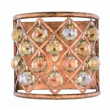 Madison 1 light Golden Iron Wall Sconce Golden Teak (Smoky) Royal Cut Crystal