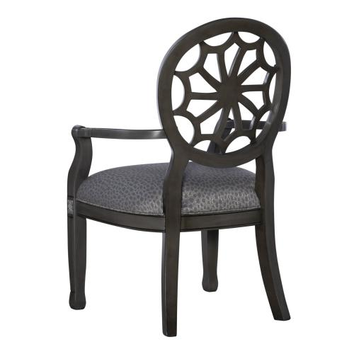 Upholstered Seat and Web Back Accent Chair, Grey