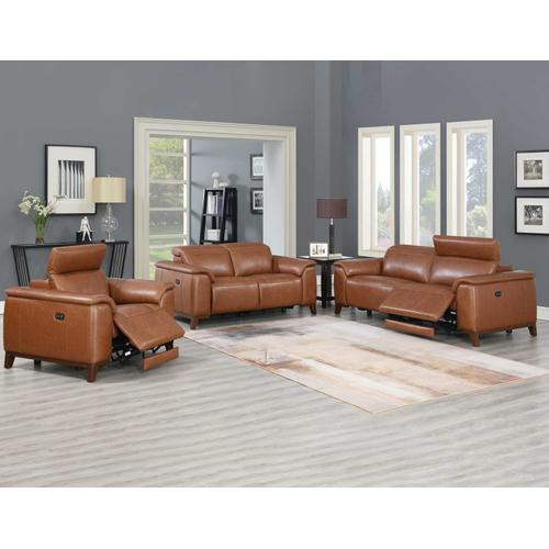 Bergamo Dual-Power Leather Reclining Loveseat