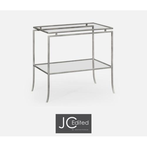 Silver iron rectangular side table