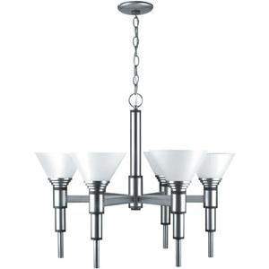 6-lite Ceiling Lamp, Ss W/frost Glass Shade, 60wx6/a Type