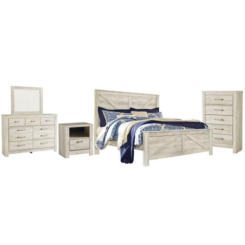 Ashley - King Crossbuck Panel Bed With Mirrored Dresser, Chest and Nightstand