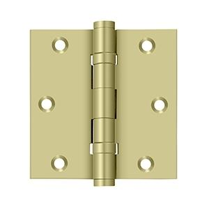 """Deltana - 3-1/2"""" x 3-1/2"""" Square Hinge, Ball Bearings - Unlacquered Brass"""