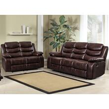 8055 BROWN 2PC Air Leather Living Room SET