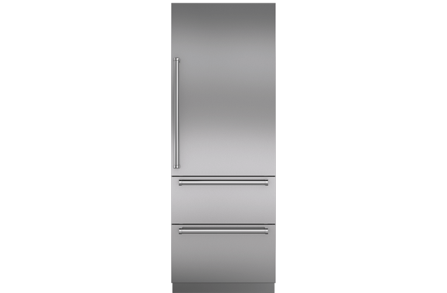 "Integrated Stainless Steel 30"" Tall Door Panel with Pro Handle - Right Hinge"