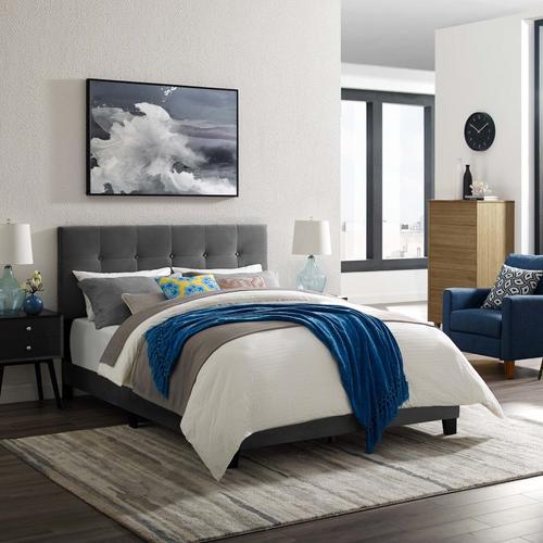 Modway - Amira King Performance Velvet Bed in Gray