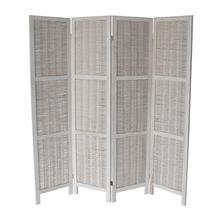 7046 WHITE Rustic Woven 4-Panel Room Divider