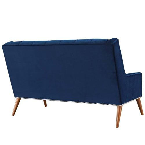 Peruse Performance Velvet Loveseat in Navy