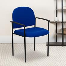 View Product - Comfort Navy Fabric Stackable Steel Side Reception Chair with Arms