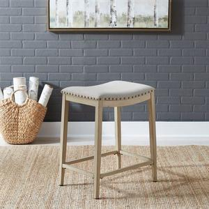 Liberty Furniture Industries - Backless Uph Counter Chair- Antique White