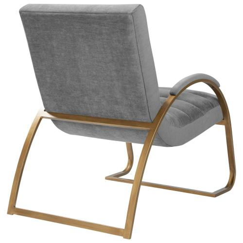 Liam Fabric Accent Arm Chair Antique Gold Frame, Grunge Light Gray