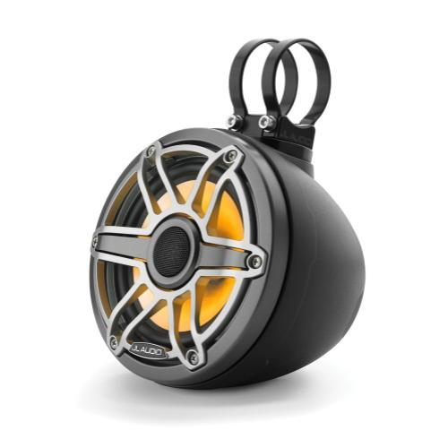 JL Audio - 6.5-inch (165 mm) Enclosed Coaxial System with Transflective™ LED Lighting, Matte Black Enclosure, Gunmetal Trim Ring, Titanium Sport Grille
