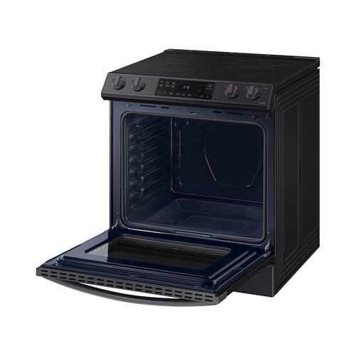 6.3 cu ft. Front Control Slide-in Electric Range with Wi-Fi in Black Stainless Steel
