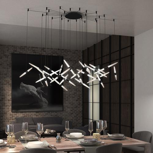 Sonneman - A Way of Light - Ballet LED Pendant [Size=9-Light, Color/Finish=Bright Satin Aluminum, Shape=Spreader]