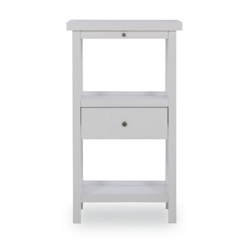 One Pull Out Tray and One-drawer Table With Shelf, White