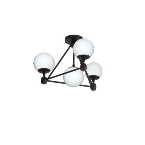 4lt Flush Mount, Black Finish W/white Glass Balls