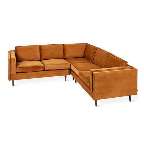 Product Image - Adelaide Bi-Sectional Velvet Rust / Walnut