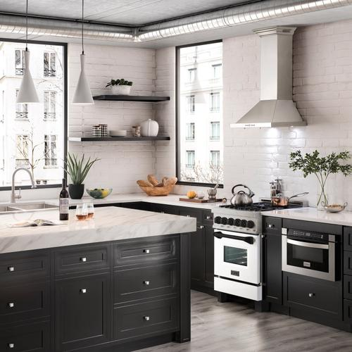"""Zline Kitchen and Bath - ZLINE Autograph Edition 24"""" 2.8 cu. ft. Dual Fuel Range with Gas Stove and Electric Oven in DuraSnow® Stainless Steel with White Matte Door and Accents (RASZ-WM-24) [Color: Champagne Bronze]"""