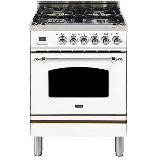Nostalgie 24 Inch Dual Fuel Natural Gas Freestanding Range in White with Chrome Trim