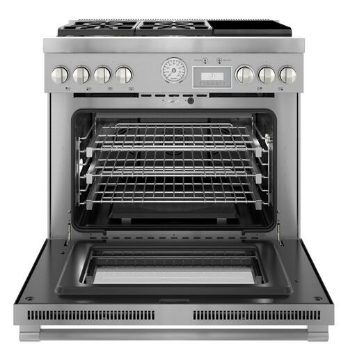 Thermador - Dual Fuel Professional Range 36'' Pro Grand® Commercial Depth Stainless Steel PRD364WIGU