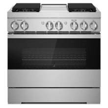 "NOIR 36"" Dual-Fuel Professional-Style Range with Chrome-Infused Griddle and Steam Assist"