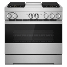 """NOIR 36"""" Dual-Fuel Professional-Style Range with Chrome-Infused Griddle and Steam Assist"""