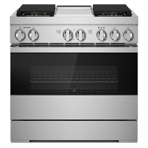 "Jenn-AirNOIR 36"" Dual-Fuel Professional-Style Range with Chrome-Infused Griddle and Steam Assist"