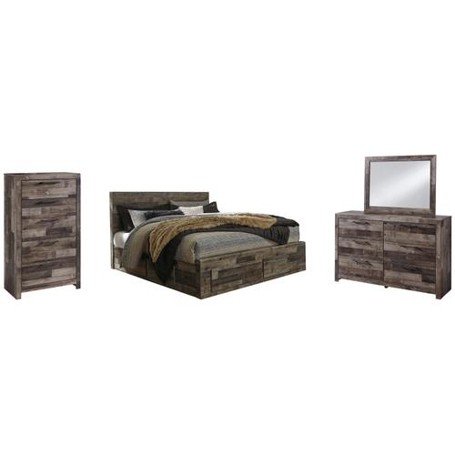 Ashley - King Panel Bed With 4 Storage Drawers With Mirrored Dresser and Chest