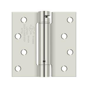 "4"" x 4"" Spring Hinge, UL Listed - Polished Nickel"