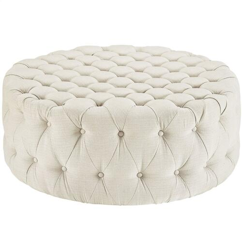 Amour Upholstered Fabric Ottoman in Beige