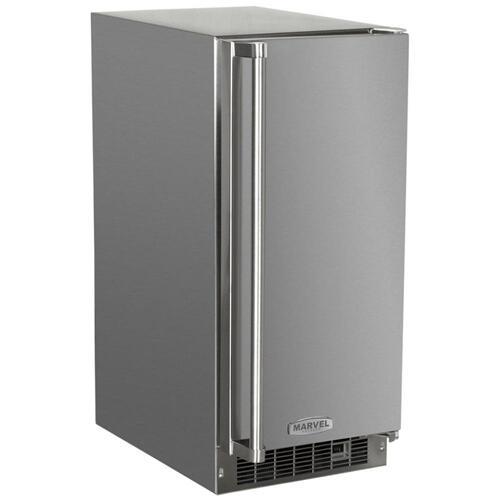 """Marvel - Marvel 15"""" Outdoor Clear Ice Machine - Solid Stainless Steel Door - Right Hinge"""