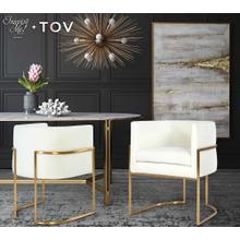 View Product - Giselle Cream Velvet Dining Chair - Gold Frame