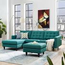 Empress Left-Facing Upholstered Fabric Sectional Sofa in Teal Product Image