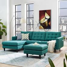 See Details - Empress Left-Facing Upholstered Fabric Sectional Sofa in Teal