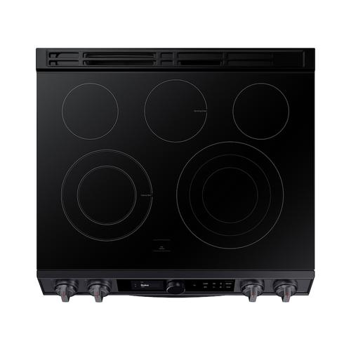 6.3 cu ft. Smart Slide-in Electric Range with Smart Dial & Air Fry in Black Stainless Steel
