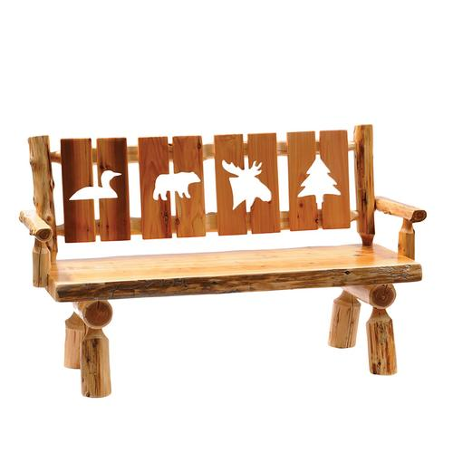 Cut-out Bench with back and arms - 60-inch - Natural Cedar - Wood Seat