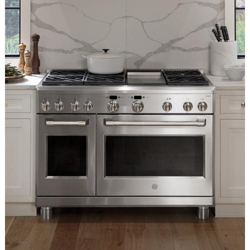 """GE Cafe - GE Cafe™ Series 48"""" Dual-Fuel Professional Range with 6 Burners and Griddle (Natural Gas)"""
