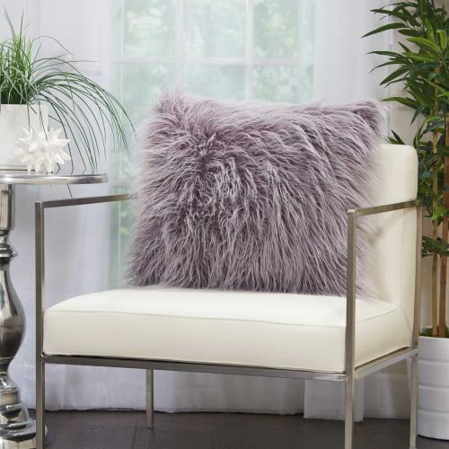 "Faux Fur Bj101 Lavender 20"" X 20"" Throw Pillow"