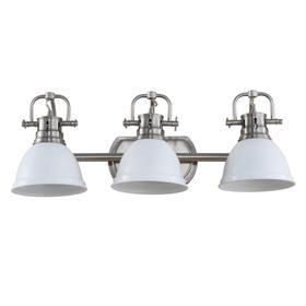 Roland Three Light Bathroom Sconce - Brush Nickel / White