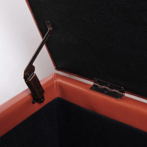 Julian Rectangular Bonded Leather Storage Ottoman, Pumpkin