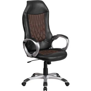 Gallery - High Back Brown Fabric and Black Vinyl Executive Swivel Office Chair with Arms