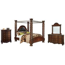 King Poster Bed With Canopy With Mirrored Dresser and Chest