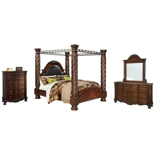 Ashley - King Poster Bed With Canopy With Mirrored Dresser and Chest