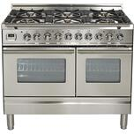 IlveIlve 40 Inch Stainless Steel Dual Fuel Liquid Propane Freestanding Range