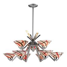 REFRACTION COLLECTION 6+3 LT CHANDELIER CRW GLASS