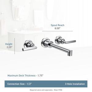 Arris brushed nickel two-handle wall mount bathroom faucet