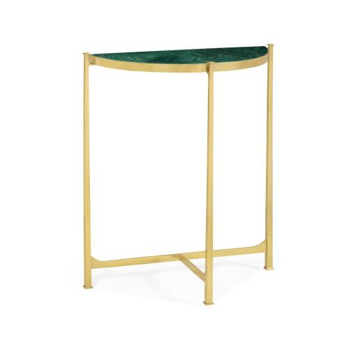 Green Napoly marble & polished solid grass demilune console (Small)
