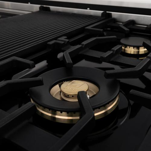 """Zline Kitchen and Bath - ZLINE Autograph Edition 48"""" Porcelain Rangetop with 7 Gas Burners in Stainless Steel with Accents (RTZ-48) [Color: Gold]"""