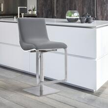 Victory Contemporary Swivel Barstool in Brushed Stainless Steel and Grey Faux Leather