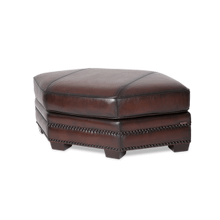 Henley Leather Large Footstool in Ember Espresso